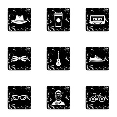 Hippie icons set. Grunge illustration of 9 hippie vector icons for web