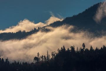 Poster Morning with fog Rheintal, Switzerland