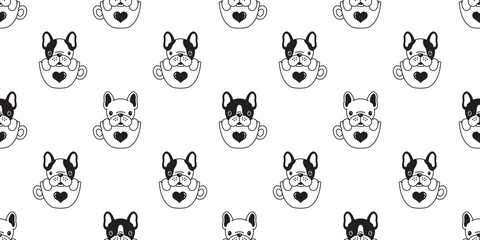 Dog seamless pattern vector french bulldog pug isolated cup heart valentine background wallpaper doodle