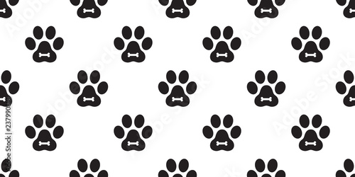 945dac2363d3 Dog Paw Seamless Pattern vector Cat Paw puppy bone foot print kitten scarf  isolated repeat wallpaper
