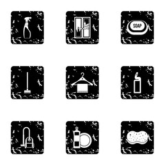 Maid service and house cleaning icons set. Grunge illustration of 9 maid service and house cleaning vector icons for web