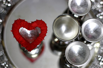 heart shape silver red