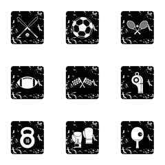 Accessories for training icons set. Grunge illustration of 9 accessories for training vector icons for web