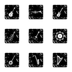 Musical instruments icons set. Grunge illustration of 9 musical instruments vector icons for web