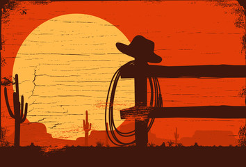 Wild west landscape background, Vector Illustration