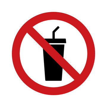 No outside drinks or soda pop with red banned sign and a cup with straw flat vector icon