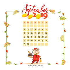 Calendar 2019 for September. Cute pig in traditional Chinese clothes. Symbol of the year. Light background. Beautiful autumn month. Design for printing on fabric or paper.