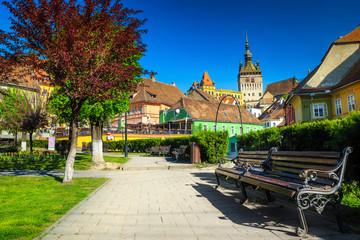 Spectacular medieval city center with ornamental park, Sighisoara, Transylvania, Romania