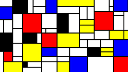 Neoplasticism imittation pattern, Piet Mondrian style. Large size background texture