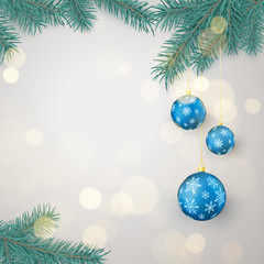 Fir twigs and blue Christmas balls with snowflakes ornament with space for greeting text. Christmas decoration elements. Xmas baubles. Vector illustration