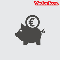 Pig icon isolated sign symbol and flat style for app, web and digital design. Vector illustration.