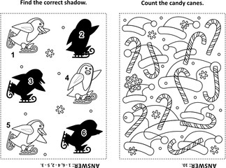 Two visual puzzles and coloring page for kids. Find the shadow for each picture of skating penguins . Count the candy cames. Black and white. Answers included.
