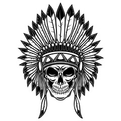 Skull in native american indians headdress. Design element for poster, card, banner, sign, t shirt.