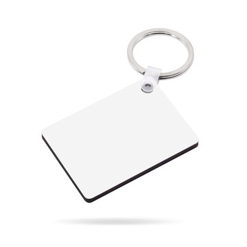Blank key ring isolated on white background. Key chain for your design. Clipping paths object. ( square shape )