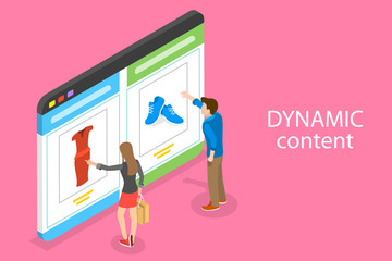 Isometric flat vector concept of behavioral digital marketing, dynamic or personalized content.