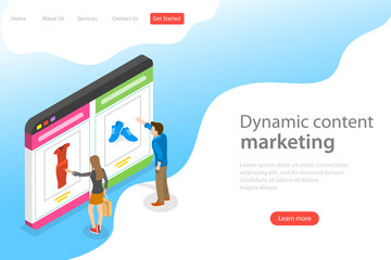publicités dynamiques annonceurs Isometric flat vector landing page template of behavioral digital marketing, dynamic or personalized content.