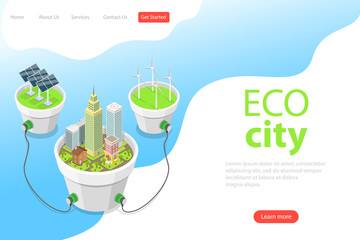 Flat isometric vector landing page template of eco city, solar panels, windmills, alternative green energy, wind turbines.