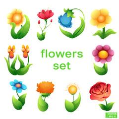 Set of cartoon character flower