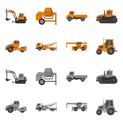 Isolated object of build and construction symbol. Collection of build and machinery stock vector illustration.