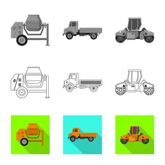 Vector design of build and construction sign. Collection of build and machinery vector icon for stock.