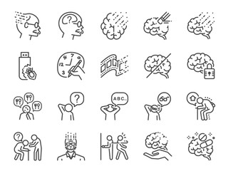 Alzheimer's & Brain Awareness line icon set. Included the icons as Alzheimer, brain disease, Savant syndrome, mental disabilities, Down syndrome and more. Wall mural