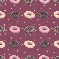 Colorful burgundy cartoon style glazed donut fun food seamless pattern