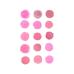 Set of pink polka dot elements arranged in a pattern painted in watercolor on clean white background