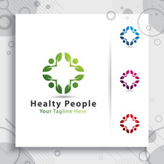 creative leaf people vector logo design with modern synergy concept, symbol illustration people with leaf digital for healthy company.