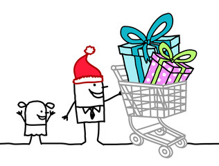 Deurstickers Vogels in kooien Cartoon Santa Man with Child and Shopping Cart full of Gifts