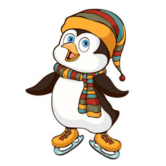 Penguin hand drawing, cartoon character, vector illustration, caricature, sticker, print, design element. Colorful painted cute funny penguin in hat and scarf ride skate isolated on white background
