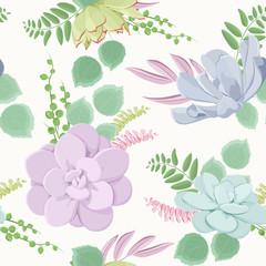Beautiful succulent flowering plants composition seamless pattern texture. Echeveria stone rose purple blue green.