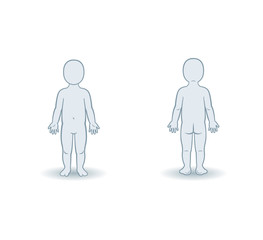 Vector silhouettes of toddler front and back view