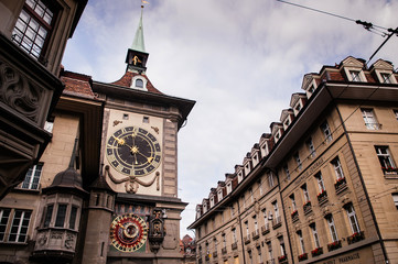 Astronomical Zytglogge clock tower in old town of Bern, Switzerland