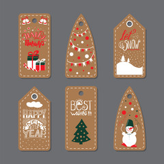 Merry Christmas Label Badge. Set of six printable hand drawn holiday cards templates. Vector seasonal labels design.