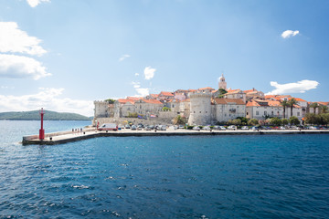 View of the beautiful Korcula town from the sea, Korcula island, Dalmatia, Croatia