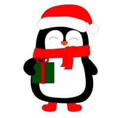 penguin in a santa costume