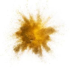 Fototapete - Explosion of yellow powder on white background