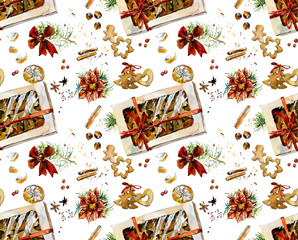 Gingerbreads. Seamless pattern. Watercolor hand drawn illustration.