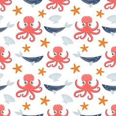 Marine seamless pattern, octopus, fish shell Vector