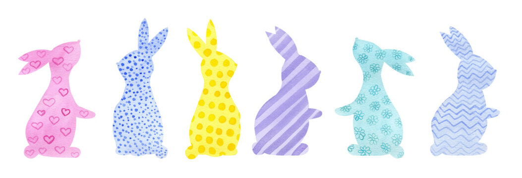 Watercolor colorful hand drawn Easter bunny with ornament. Isolated on white background