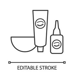 Eyebrows and eyelash dye kit linear icon