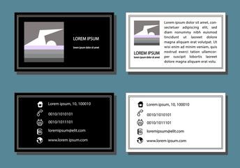 corporate design business card set two-color vector