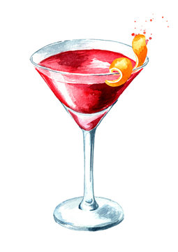 Cosmopolitan cocktail with orange zest. Watercolor hand drawn illustration, isolated on white background