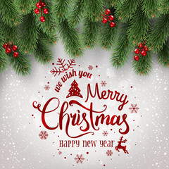 Merry Christmas Typographical on white background with tree branches decorated with berries, lights, snowflakes. Xmas theme. Vector Illustration
