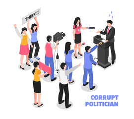 Corrupt Politician White Background