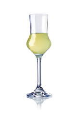 glass of limoncello liqueur isolated