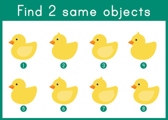 English Worksheet. Find two same objects. Exercise for pupils, children, teachers resources.