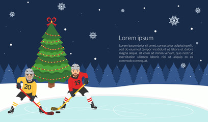 New year's banner. A poster with the hockey players of the Christmas tree. Vector illustration in modern flat style.