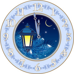 Decorative clock design in a circle for a festive Christmas or New Year theme