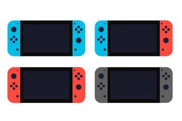 Creative switch button game console illustration. Flat set vector icon.